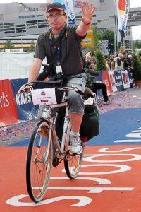 Reportage von Fahrrad aus beim Ruhrmarathon.